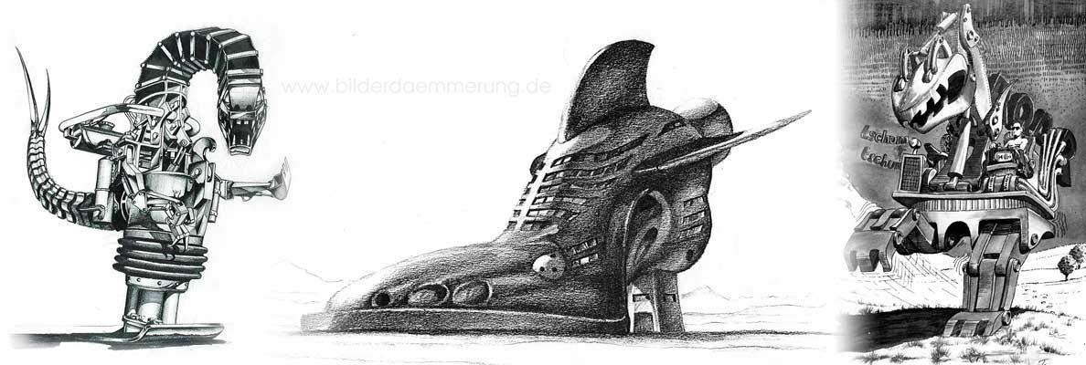 Skizzen zu illustrierten Horror und Science-Fiction-Storys